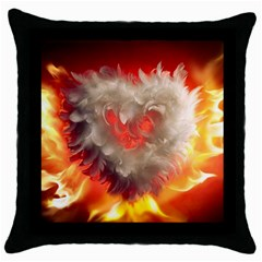 Arts Fire Valentines Day Heart Love Flames Heart Throw Pillow Case (Black)