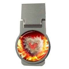 Arts Fire Valentines Day Heart Love Flames Heart Money Clips (Round)