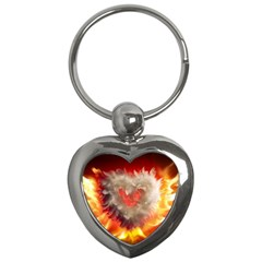 Arts Fire Valentines Day Heart Love Flames Heart Key Chains (Heart)