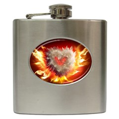 Arts Fire Valentines Day Heart Love Flames Heart Hip Flask (6 oz)