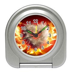 Arts Fire Valentines Day Heart Love Flames Heart Travel Alarm Clocks