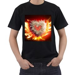 Arts Fire Valentines Day Heart Love Flames Heart Men s T-Shirt (Black) (Two Sided)