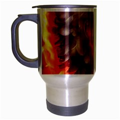 Arts Fire Valentines Day Heart Love Flames Heart Travel Mug (Silver Gray)