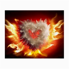 Arts Fire Valentines Day Heart Love Flames Heart Small Glasses Cloth