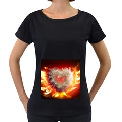 Arts Fire Valentines Day Heart Love Flames Heart Women s Loose-Fit T-Shirt (Black)
