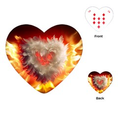 Arts Fire Valentines Day Heart Love Flames Heart Playing Cards (Heart)