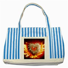 Arts Fire Valentines Day Heart Love Flames Heart Striped Blue Tote Bag