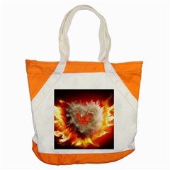 Arts Fire Valentines Day Heart Love Flames Heart Accent Tote Bag