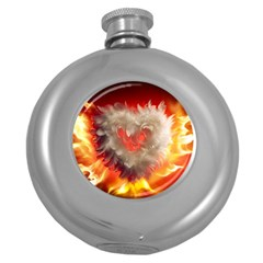 Arts Fire Valentines Day Heart Love Flames Heart Round Hip Flask (5 oz)