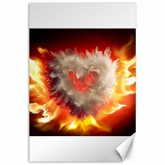 Arts Fire Valentines Day Heart Love Flames Heart Canvas 24  x 36