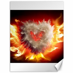 Arts Fire Valentines Day Heart Love Flames Heart Canvas 36  x 48