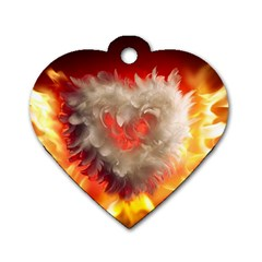 Arts Fire Valentines Day Heart Love Flames Heart Dog Tag Heart (two Sides)