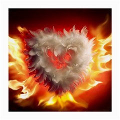 Arts Fire Valentines Day Heart Love Flames Heart Medium Glasses Cloth (2-Side)
