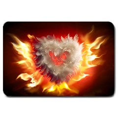 Arts Fire Valentines Day Heart Love Flames Heart Large Doormat