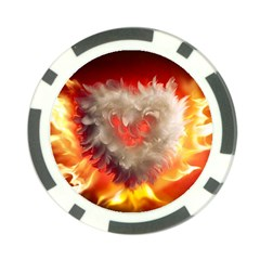 Arts Fire Valentines Day Heart Love Flames Heart Poker Chip Card Guard