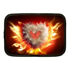 Arts Fire Valentines Day Heart Love Flames Heart Netbook Case (Medium)