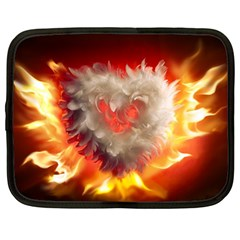 Arts Fire Valentines Day Heart Love Flames Heart Netbook Case (Large)