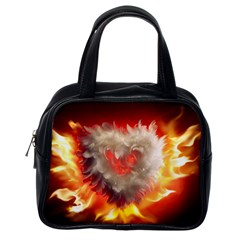 Arts Fire Valentines Day Heart Love Flames Heart Classic Handbags (One Side)