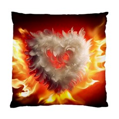 Arts Fire Valentines Day Heart Love Flames Heart Standard Cushion Case (Two Sides)