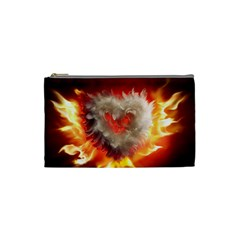 Arts Fire Valentines Day Heart Love Flames Heart Cosmetic Bag (Small)