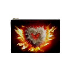Arts Fire Valentines Day Heart Love Flames Heart Cosmetic Bag (Medium)