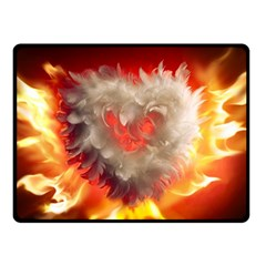Arts Fire Valentines Day Heart Love Flames Heart Fleece Blanket (Small)