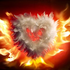 Arts Fire Valentines Day Heart Love Flames Heart Magic Photo Cubes
