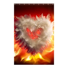 Arts Fire Valentines Day Heart Love Flames Heart Shower Curtain 48  x 72  (Small)