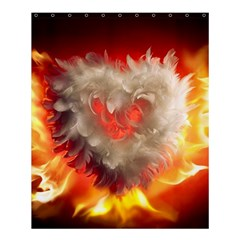 Arts Fire Valentines Day Heart Love Flames Heart Shower Curtain 60  x 72  (Medium)