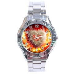 Arts Fire Valentines Day Heart Love Flames Heart Stainless Steel Analogue Watch
