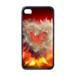 Arts Fire Valentines Day Heart Love Flames Heart Apple iPhone 4 Case (Black)