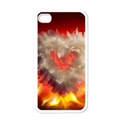 Arts Fire Valentines Day Heart Love Flames Heart Apple iPhone 4 Case (White)