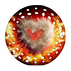 Arts Fire Valentines Day Heart Love Flames Heart Ornament (Round Filigree)