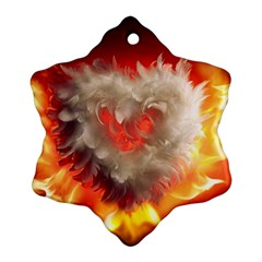 Arts Fire Valentines Day Heart Love Flames Heart Snowflake Ornament (Two Sides)