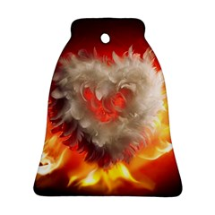 Arts Fire Valentines Day Heart Love Flames Heart Bell Ornament (Two Sides)