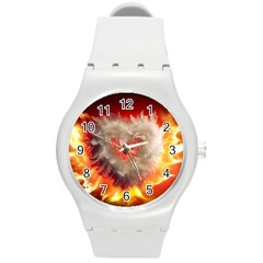 Arts Fire Valentines Day Heart Love Flames Heart Round Plastic Sport Watch (M)