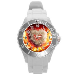Arts Fire Valentines Day Heart Love Flames Heart Round Plastic Sport Watch (L)