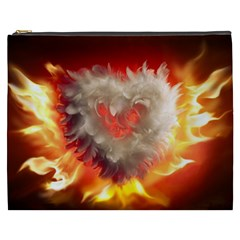 Arts Fire Valentines Day Heart Love Flames Heart Cosmetic Bag (XXXL)