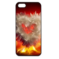 Arts Fire Valentines Day Heart Love Flames Heart Apple iPhone 5 Seamless Case (Black)