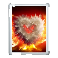 Arts Fire Valentines Day Heart Love Flames Heart Apple iPad 3/4 Case (White)