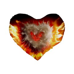 Arts Fire Valentines Day Heart Love Flames Heart Standard 16  Premium Heart Shape Cushions