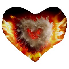 Arts Fire Valentines Day Heart Love Flames Heart Large 19  Premium Heart Shape Cushions