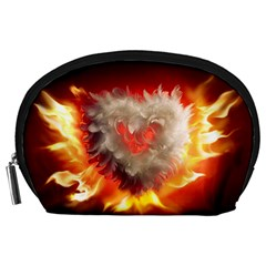 Arts Fire Valentines Day Heart Love Flames Heart Accessory Pouches (Large)