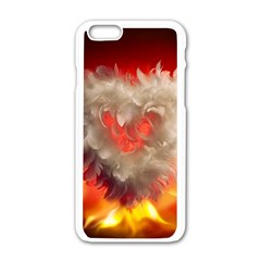 Arts Fire Valentines Day Heart Love Flames Heart Apple iPhone 6/6S White Enamel Case
