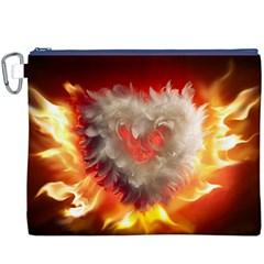 Arts Fire Valentines Day Heart Love Flames Heart Canvas Cosmetic Bag (XXXL)
