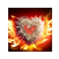 Arts Fire Valentines Day Heart Love Flames Heart Small Satin Scarf (Square)