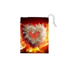 Arts Fire Valentines Day Heart Love Flames Heart Drawstring Pouches (XS)