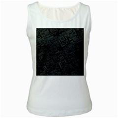 Black Rectangle Wallpaper Grey Women s White Tank Top