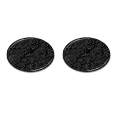 Black Rectangle Wallpaper Grey Cufflinks (Oval)
