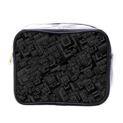 Black Rectangle Wallpaper Grey Mini Toiletries Bags